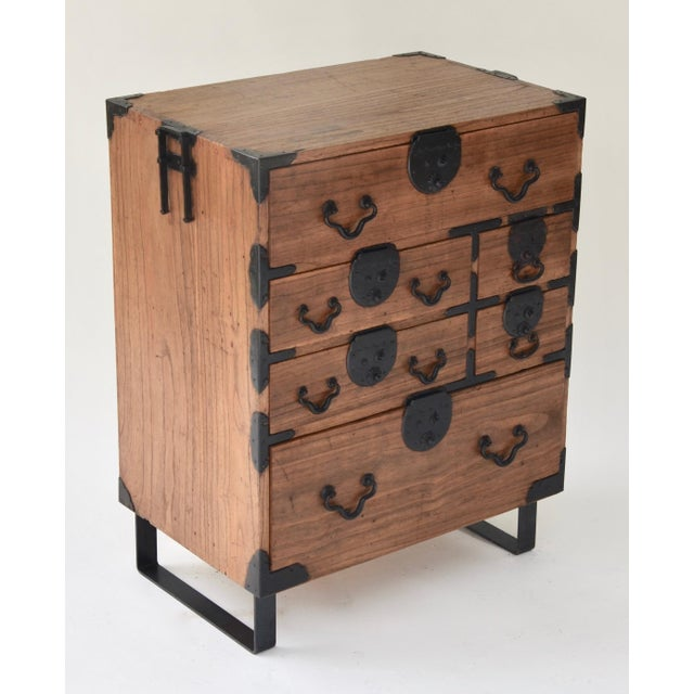 Late 19th Century 19th Century Japanese Tansu With Hand Forged Hardware For Sale - Image 5 of 11
