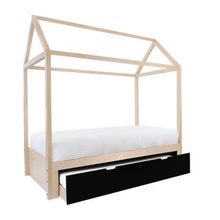 Domo Zen Twin Trundle Canopy Bed in Maple With Black Finish For Sale