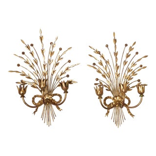 Pair of Gilt Metal Hollywood Regency Wall Sconce Candle Holders For Sale