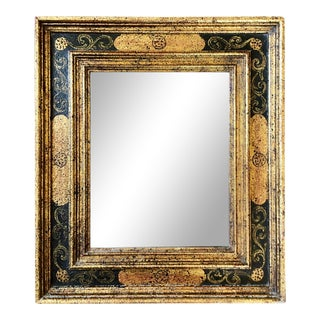 Black Gold Wood Italian Wall Mirror For Sale