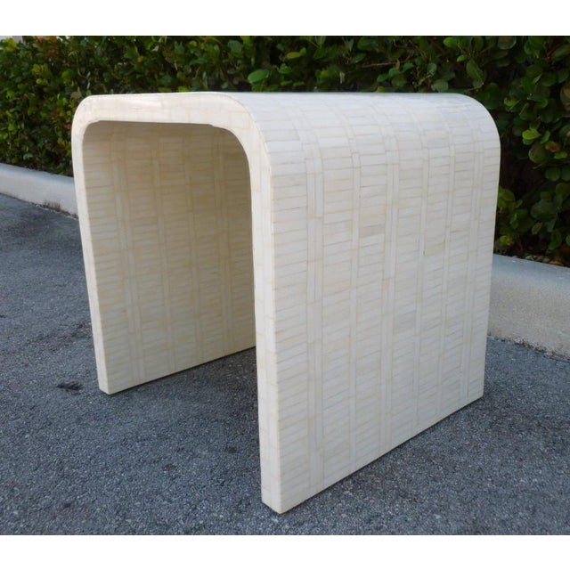 Curvaceous 70's tessellated bone side table sold as found in vintage condition without damage. Made in the style of...