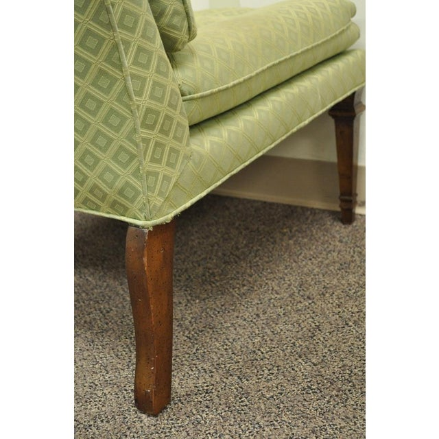 Vintage Hollywood Regency Green Upholstered & Wood Slipper Accent Side Chair For Sale - Image 9 of 10