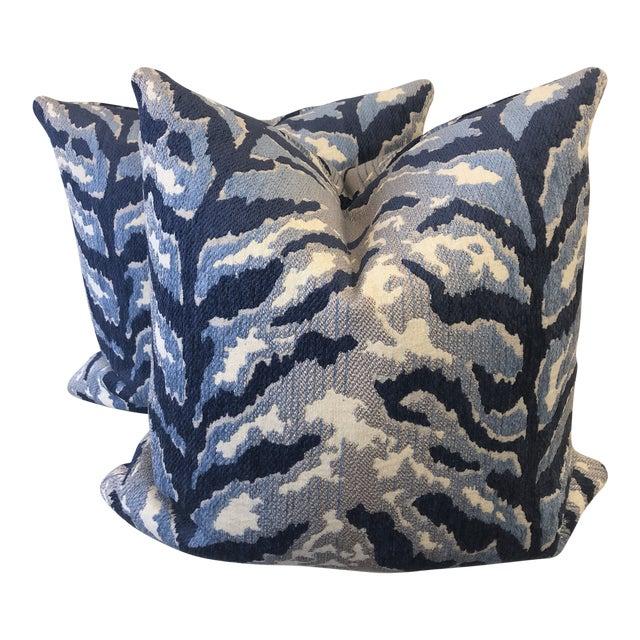 """Woven Tiger Print in Indigo 22"""" Pillows-A Pair For Sale"""