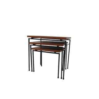 Iron & Teak Nesting Tables by Cees Braakman for Pastoe For Sale