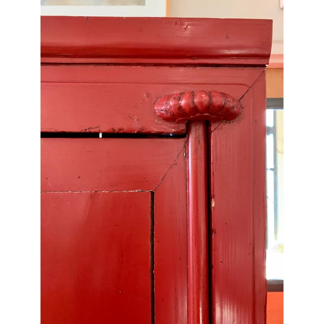 Metal Chinese Red Lacquered Armoire Cabinet For Sale - Image 7 of 11