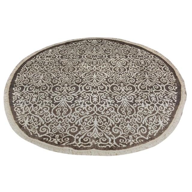 Silk Kafkaz Peshawar Cyrena Charcoal & Ivory Wool & Viscouse Round Rug - 5'10 X 6'0 For Sale - Image 7 of 8