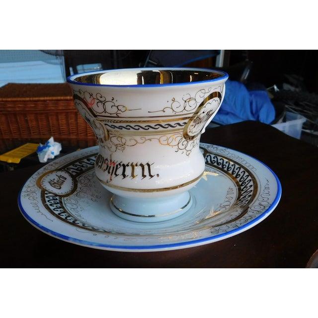Victorian Antique German Victorian Porcelain Dem Hausherrn Decorated Cup & Saucer C1900 For Sale - Image 3 of 9