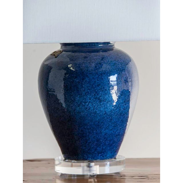 High End Chinese Lapis Lazuli Blue Vase Repurposed As A Lamp On A