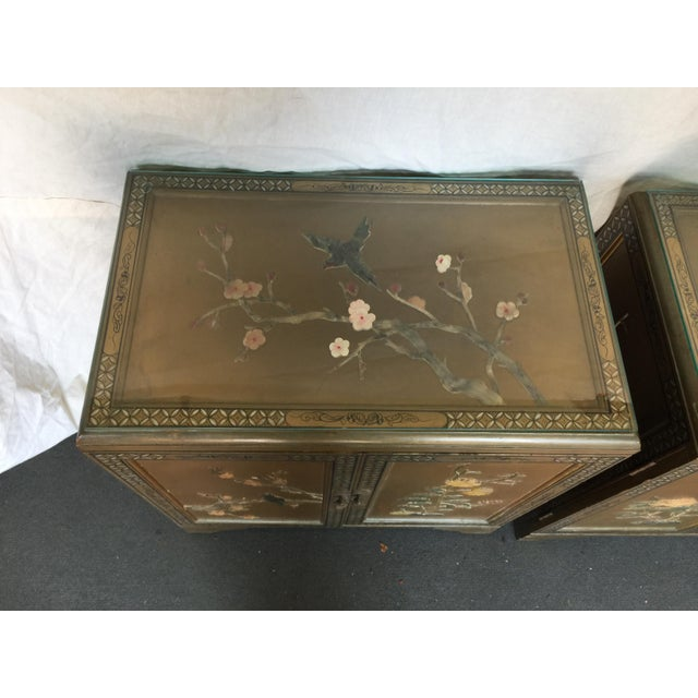 Asian Pair Hollywood Regency Chinese Chinoiserie Chests With Hardstone Decoration For Sale - Image 3 of 11