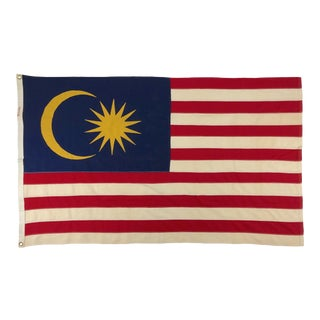 Mid Century Malaysian Flag With Moon and Star For Sale