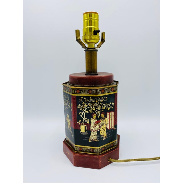 1950s Chinoiserie Red and Black Tole Tea Canister Lamp With Leather Details For Sale - Image 10 of 13