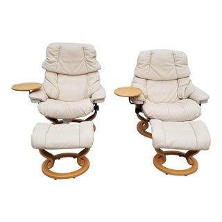 1980s Vintage Ekornes Stressless Swivel Recliner Chairs & Footstools - 4 Pieces For Sale