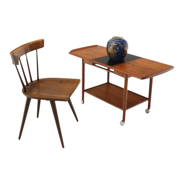 Danish Mid-Century Modern Teak Expandable Cart With One Leaf For Sale