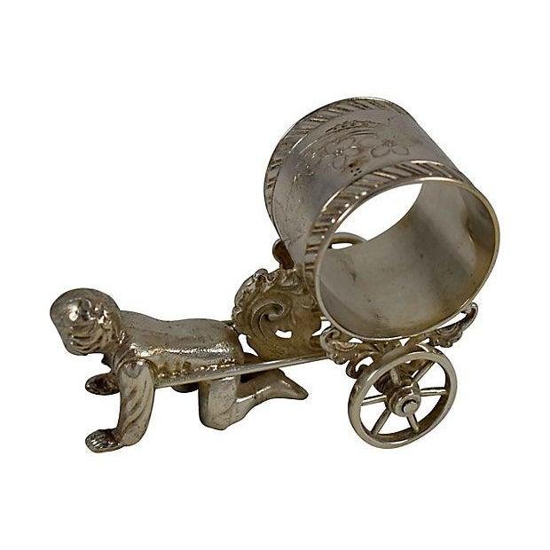 Victorian Boy & Cart Silver Figural Napkin Ring/Holder For Sale In Philadelphia - Image 6 of 11