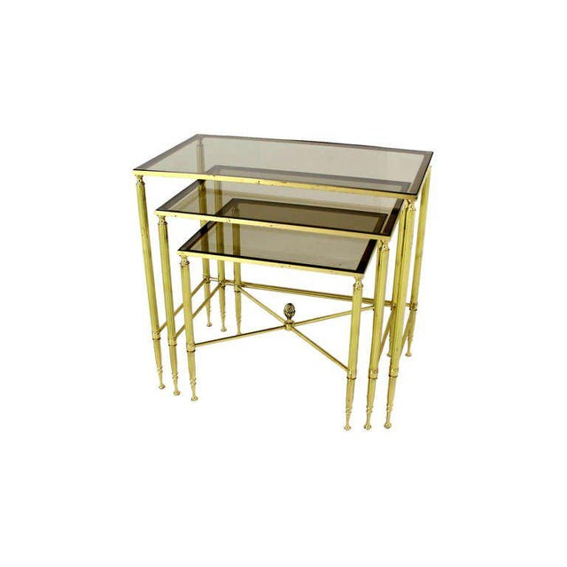 Mid-Century Modern Solid Brass Smoked Glass Set of Three Nesting Stacking Tables For Sale - Image 3 of 6