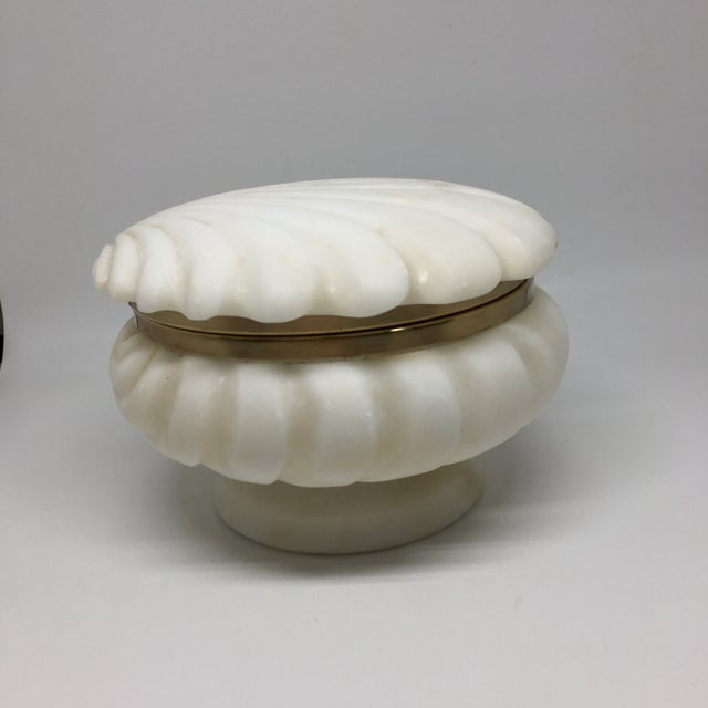 Alabaster and Brass Shell Lidded Box For Sale In New York - Image 6 of 12