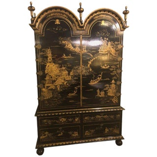 Palatial Chinoiserie Decorated Ebonized Two-Door Over Four Drawer Armoire For Sale