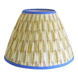 Gathered Lamp Shade, Cream with Blue Trim