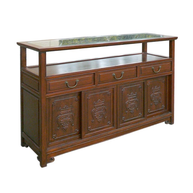 Chinese Glass Top High Credenza - Image 2 of 8