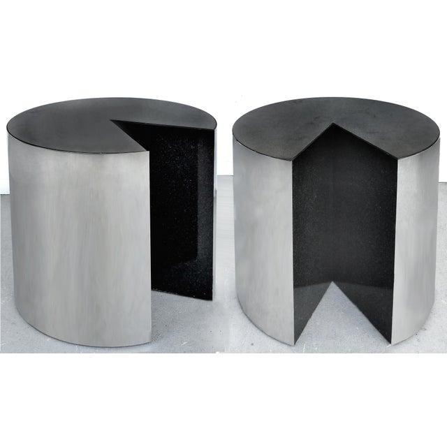 Gray Pace Collection Stainless Steel and Granite Side Tables- a Pair For Sale - Image 8 of 8