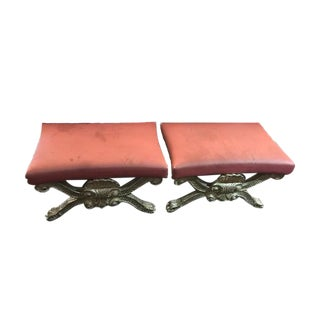 Rococo Silver French Ottomans - A Pair