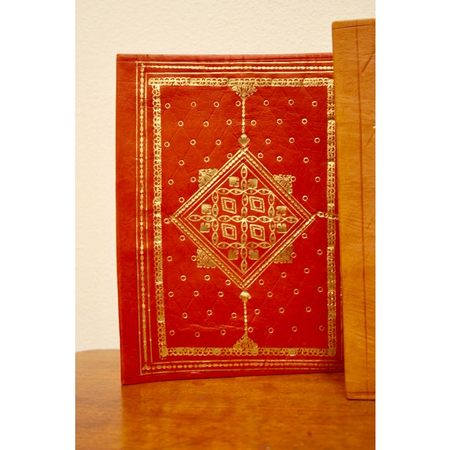 Gold Stamped Moroccan Leather Book Covers - A Pair - Image 4 of 11