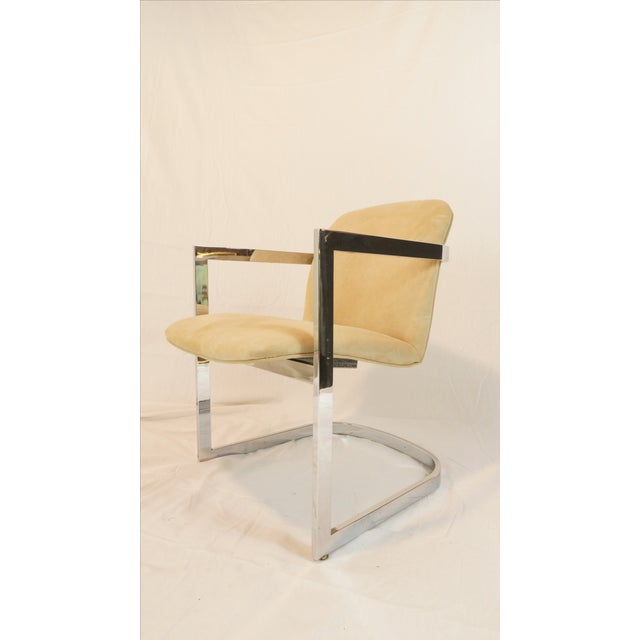 Vintage Chrome Armchair With Suede Upholstery - Image 4 of 5