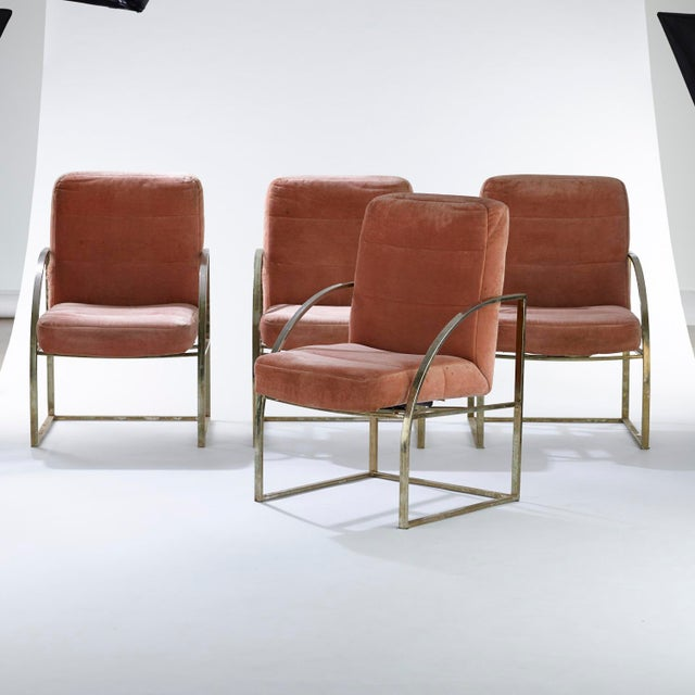 Metal 1970s Vintage Brass Upholstered Milo Baughman for Thayer Coggin Chairs- Set of 4 For Sale - Image 7 of 7