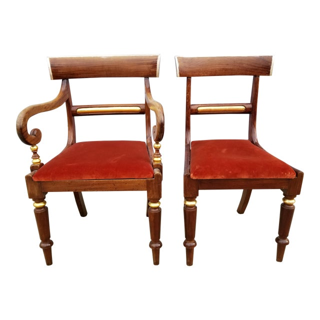 Antique Neoclassical Mahogany Gilt Side Chairs - a Pair For Sale
