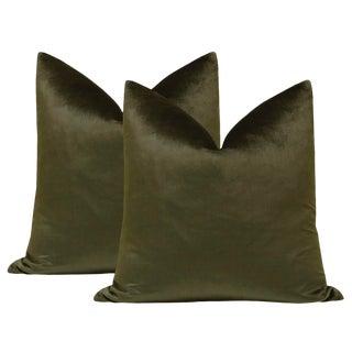 """22"""" Italian Silk Velvet Pillows in Olive - a Pair For Sale"""