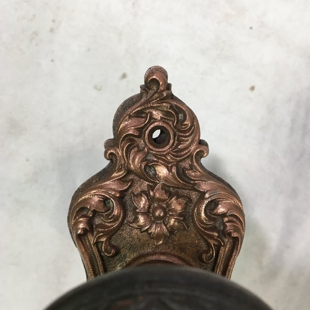 Metal Antique Style Victorian Filigree Copper Finish Back Plates and Doorknobs For Sale - Image 7 of 11