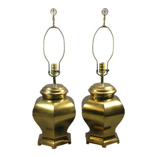 Vintage Chinese-Style Brass Hexagonal Baluster Jars Mounted as Lamps - a Pair For Sale