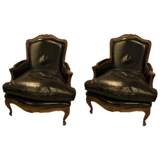 Attributed to Maison Jansen Louis XV Style Bergère Lounge Chairs- A Pair