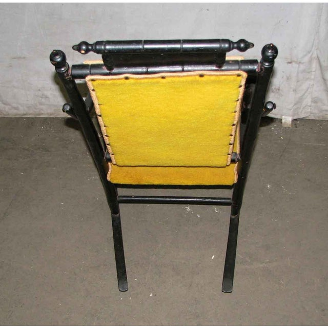 Victorian Rocker With Studded Yellow Upholstery For Sale - Image 6 of 9