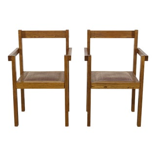 1970s Vintage Oak Side Chairs - a Pair For Sale
