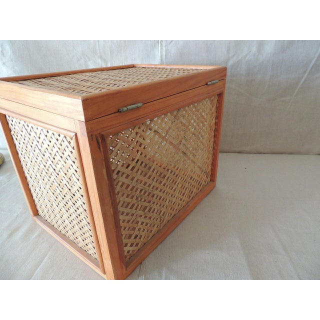 1980s Woven Bamboo Trellis Pattern Filing Box With Lid For Sale - Image 5 of 7