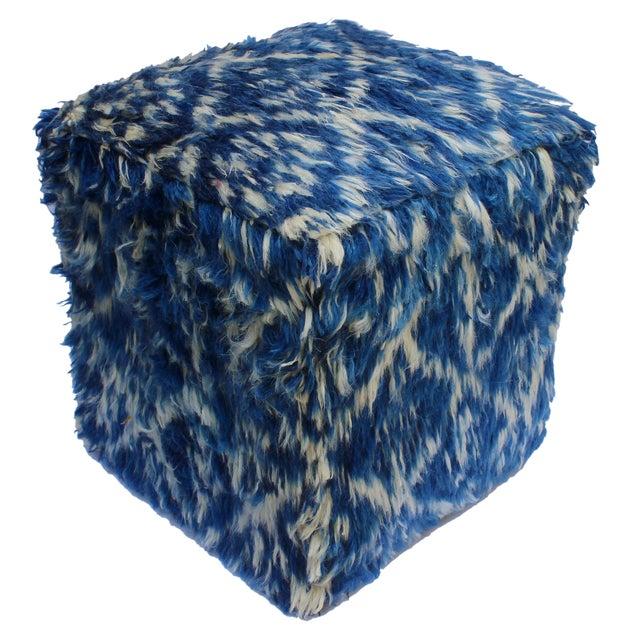 Boho Chic Corine Blue/Ivory Morrocan Wool Upholstered Handmade Ottoman For Sale