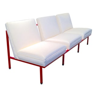 Restored Vintage Metal Steelcase Lounge Sofa For Sale