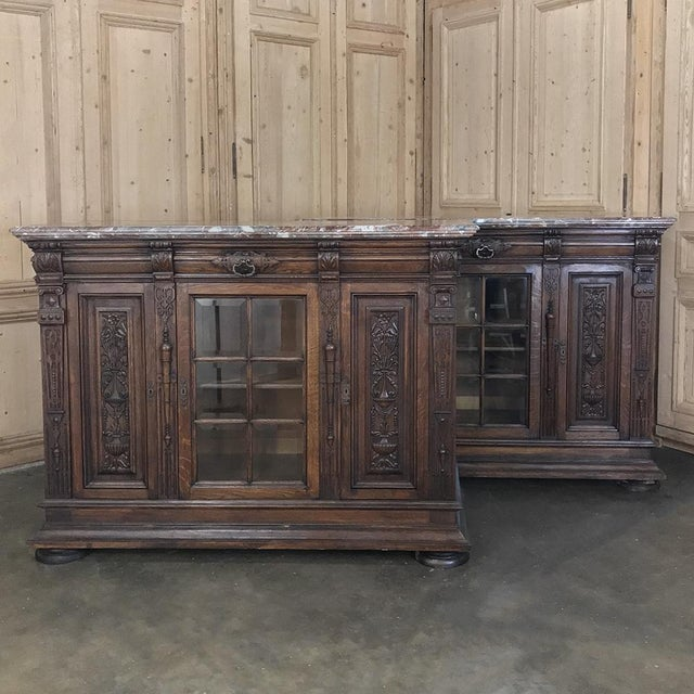 Pair 19th Century French Louis XIV Marble Top Display Buffets For Sale In Dallas - Image 6 of 13