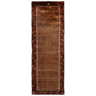 Antique Persian Sahar Beige and Burgundy Wool Rug - 4′ × 11′11″ For Sale