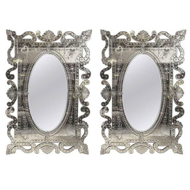 Monumental Venetian Mirrors - A Pair - Image 1 of 8