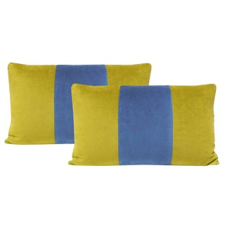 "12""x18"" Chartreuse and Cadet Velvet Lumbar Pillows - a Pair For Sale"