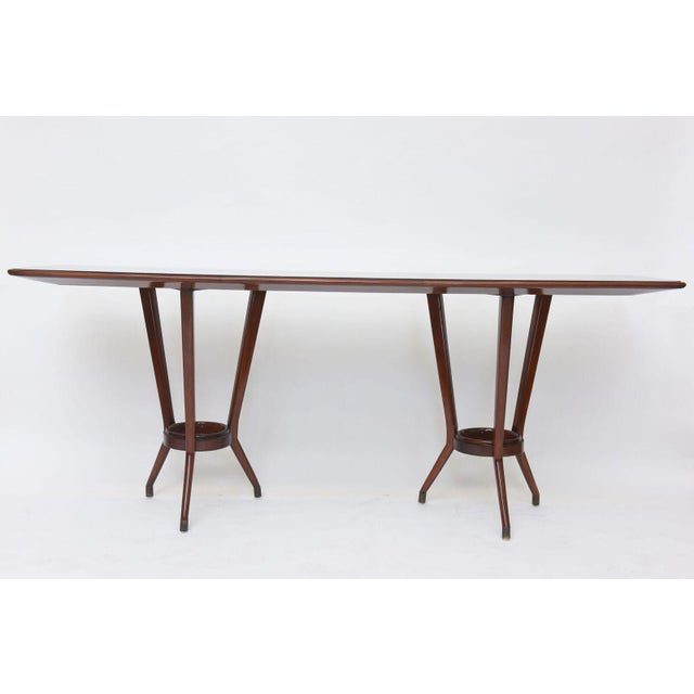 Italian Modern Mahogany, Brass and Black Glass Console Table, Guglielmo Ulrich For Sale - Image 9 of 10