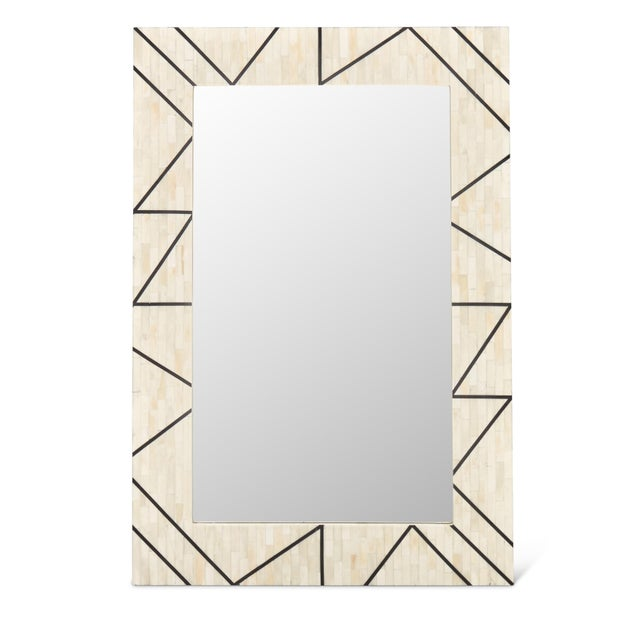 Contemporary Bone Inlay and Resin Framed Carolyn Mirror, White For Sale - Image 4 of 4