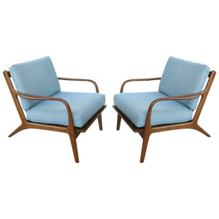 Folke Ohlsson Danish Modern Walnut Lounge Chairs - a Pair For Sale