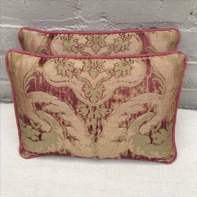Antique Pink And Red Textile Pillows - Pair - Image 3 of 5