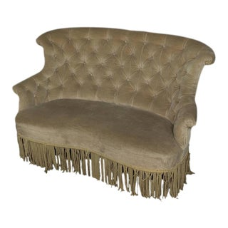 19th Century, French Tufted Settee in Faded Green Velvet For Sale