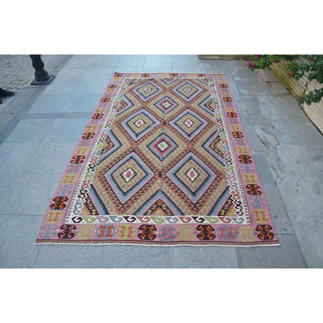 "Vintage Turkish Kilim Rug - 4'11"" X 8'2"" - Image 2 of 6"