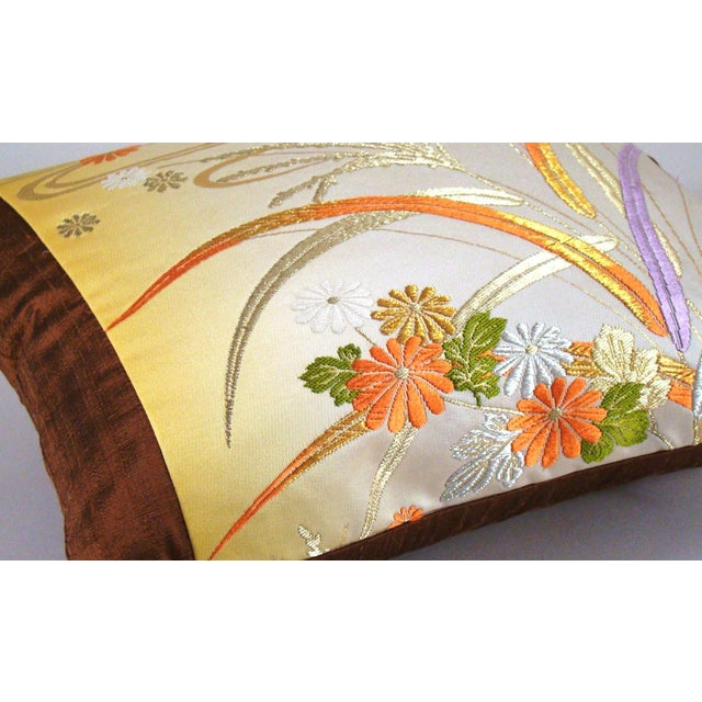 Asian Japanese Obi Yellow Ombre Streamside Floral Lumbar Pillow Cover For Sale - Image 3 of 7