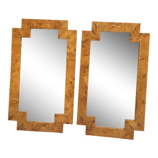 Italian Deco Burl Mirrors, a Pair For Sale